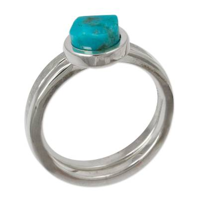 Handcrafted Taxco Silver Turquoise Stacking Rings (Pair)