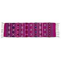 Zapotec wool runner, 'Rosy Dawn' (1.5x5) - Handwoven Zapotec Runner Rug in Pinks and Red (1.5 x 5)