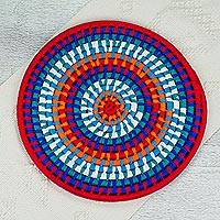 Natural fiber decorative mat, 'Festive Sun' - Colorful Mexican Ribbon on Coiled Palm Decorative Mat