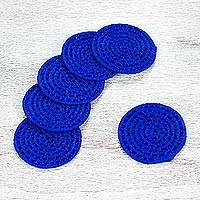 Natural fiber coasters, 'Party Cobalt' (set of 6) - 6 Artisan Crafted Round Cobalt Blue Coasters Set from Mexico