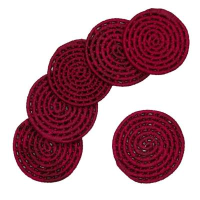 6 Artisan Crafted Wine Color Palm Coasters Set from Mexico