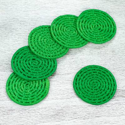 Natural fiber coasters, Party Jungle (set of 6)