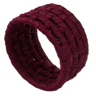 Natural fiber napkin rings, 'Party Maroon' (set of 6) - 6 Handcrafted Burgundy Napkin Rings in Ribbon on Palm
