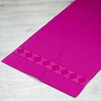 Cotton table runner, 'Hot Mexican Pink' - Backstrap Handwoven Fuchsia Table Runner from Mexico