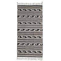 Zapotec wool rug, 'Shadows of Mitla' (2.5x5) - Natural Undyed Wool Handwoven Zapotec Rug (2.5 x 5)