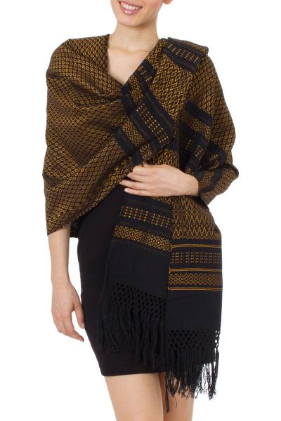 Zapotec cotton rebozo shawl, Fiesta in Black and Marigold