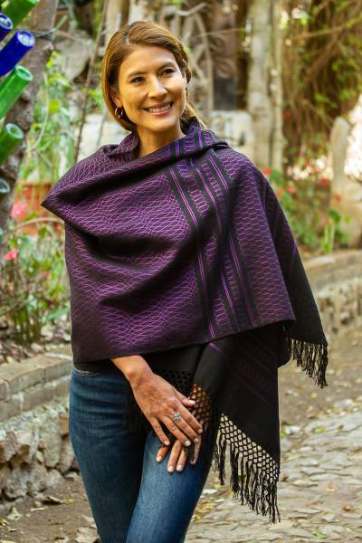 Zapotec cotton rebozo shawl, 'Fiesta in Black and Purple' - Zapotec Handwoven Black and Purple Rebozo Shawl