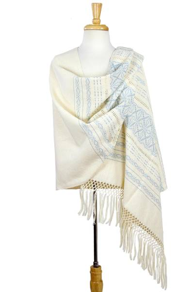Zapotec cotton rebozo shawl, 'Azure Stars of Teotitlan' - Creamy Cotton Handwoven Shawl with Light Blue Stars