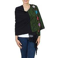 Cotton rebozo shawl, 'Spring Green Midnight Garden' - Green on Black Embroidered Floral Handwoven Rebozo Shawl