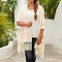 Zapotec cotton rebozo shawl, 'Pink Stars of Teotitlan' - Pink and Creamy Cotton Handwoven Zapotec Shawl