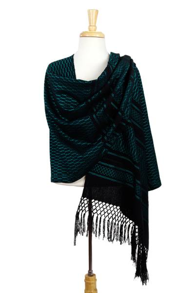 Zapotec cotton rebozo shawl, 'Fiesta in Black and Turquoise' - Handwoven Black Cotton Zapotec Rebozo Shawl with Turquoise