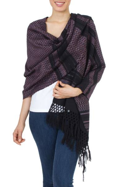 Zapotec cotton rebozo shawl, Fiesta in Black and Rose