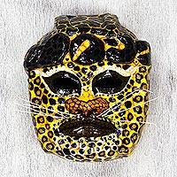 Papier mache mask, 'Yellow Olmec Jaguar' - Signed Olmec Jaguar Papier Mache Mask