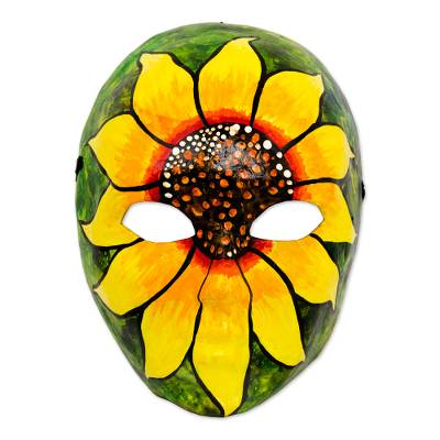 Papier mache mask, 'Spirit of the Sunflower' - Signed Handcrafted Papier Mache Sunflower Mask