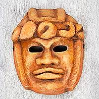 Papier mache mask, 'Colossal Olmec Head' - Signed Olmec Replica Papier Mache Mask