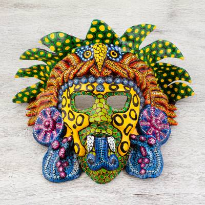 Papier mache mask, 'Kukulkan in Colors' - Handcrafted Signed Papier Mache Mexican Plumed Serpent Mask