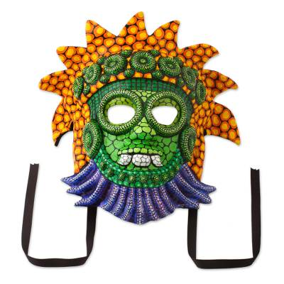 Papier mache mask, 'Rain God in Colors' - Handcrafted Mexican Rain God Mask in Papier Mache
