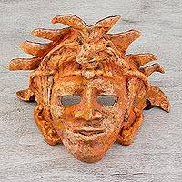 Papier mache mask, 'Palenque King Pakal' - Expressionist Papier Mache Maya Mask from Mexico
