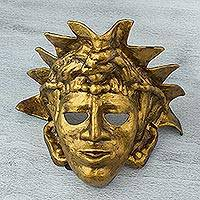 Papier mache mask, 'Golden King of Palenque' - Expressionist Golden Papier Mache Maya Mask