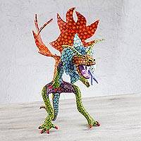 Papier mache Alebrije sculpture, 'Phantasmagorical Dragon' - Phantasmagorical Dragon Alebrije Papier Mache Sculpture