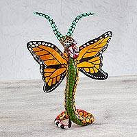 Papier mache Alebrije sculpture, 'Phantasmagorical Butterfly' - Butterfly Jaguar Mexican Alebrije Artisan Crafted Sculpture