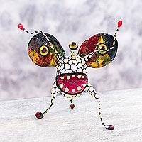 Papier mache Alebrije sculpture, 'Phantasmagorical White Bug' - 3-eyed Bug Mexican Alebrije Handmade Paper Mache Sculpture