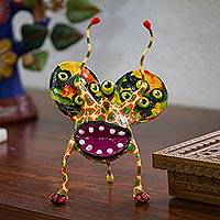 Papier mache Alebrije sculpture, 'Multi-Eyed Bug I' - Multicolor Mexican Alebrije Hand Crafted Paper Sculpture
