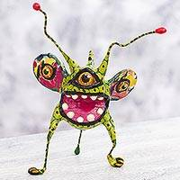 Papier mache Alebrije sculpture, 'Phantasmagorical Green Bug' - 3-eyed Bug Green Alebrije Sculpture Hand Crafted in Mexico