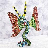 Alebrije sculpture, 'Phantasmagorical Serpent' - Mexico Winged Snake Alebrije Artisan Crafted Paper Sculpture
