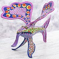 Alebrije sculpture, 'Phantasmagorical Fish' - Purple Fish Monster Alebrije Artisan Crafted Paper Sculpture
