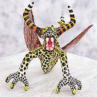 Alebrije sculpture, 'Phantasmagorical Winged Ox' - Alebrije Artisan Crafted Paper Sculpture of Winged Ox