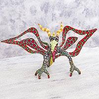 Alebrije sculpture, 'Phantasmagorical Eagle' - Scary Eagle Alebrije Artisan Crafted Paper Mexico Sculpture
