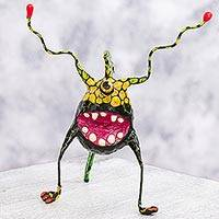 Papier mache Alebrije sculpture, 'Phantasmagorical Eye' - Alebrije of One Eyed Monster Artisan Crafted Sculpture