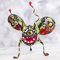 Papier mache Alebrije sculpture, 'Phantasmagorical Smiling Bug' - Mexican Alebrije of Smiling Bug Artisan Crafted Sculpture