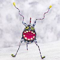 Papier mache Alebrije sculpture, 'Phantasmagorical Gnat' - Mystery Monster Mexican Alebrije Artisan Crafted Sculpture
