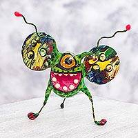 Papier mache Alebrije sculpture, 'Multi-Eyed Bug II' - Multi Eyed Bug Alebrije Hand Crafted Paper Sculpture