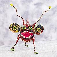 Papier mache Alebrije sculpture, 'Phantasmagorical Giraffe' - Giraffe Bug Alebrije Hand Crafted Paper Multicolor Sculpture
