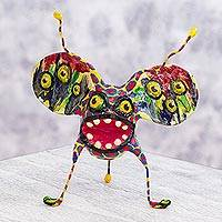 Papier mache Alebrije sculpture, 'Multi-Eyed Bug III' - Scary Alebrije Hand Crafted Paper Multicolor Sculpture