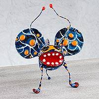 Alebrije sculpture, 'Phantasmagorical Beetle' - Folk Art Beetle Alebrije Handmade Paper Mache Sculpture