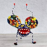 Alebrije sculpture, 'Phantasmagorical Art Bug' - Folk Art Bug Alebrije Handmade Paper Mache Sculpture