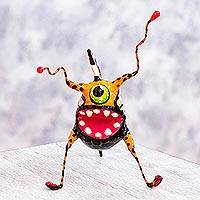 Alebrije sculpture, 'Phantasmagorical Bug Fish' - Folk Art Fish Bug Alebrije Handmade Paper Mache Sculpture