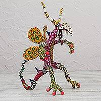 Alebrije sculpture, 'Phantasmagorical Crow' - Dragon Crow Alebrije Handmade Paper Mache Sculpture