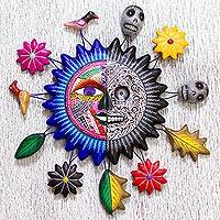 Ceramic wall sculpture, 'Sun of Life and Death' - Hand Made Ceramic Wall Sculpture Sun Design from Mexico
