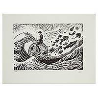 'Facing the Wave' - Surreal Man on Bike with Fish Etched Print Limited Edition