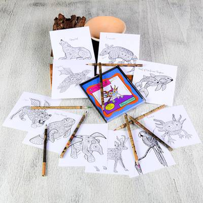 Coloring postcards, 'Alebrije Collection' (set of 10) - Gift Idea 10 Coloring Postcards of Mexican Animal Alebrijes