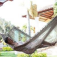 Cotton rope hammock, 'Ashen Beach' (single) - Solid Grey Hand Woven Cotton Maya Hammock (Single)