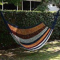 Hammock, 'Durango' (single) - Hand Made Nylon Single Hammock with S-Hooks from Mexico
