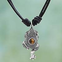 Tiger's eye pendant necklace, 'Eye of the Frog' - Sterling Silver Tiger's Eye Pendant Necklace from Mexico