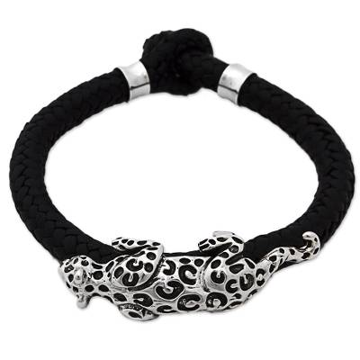 Hand Made Leather Sterling Silver Braided Bracelet Mexico