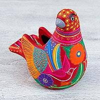 Ceramic sculpture, 'Spotted Dove' - Hand Crafted Ceramic Dove Shaped Sculpture from Mexico